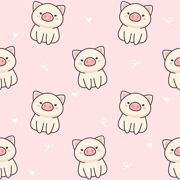 Cute pig seamless pattern Premium Vector