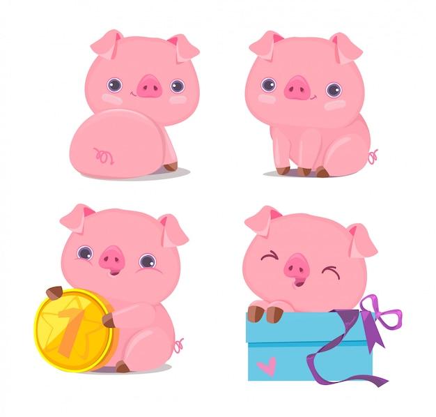 Cute pig set Premium Vector