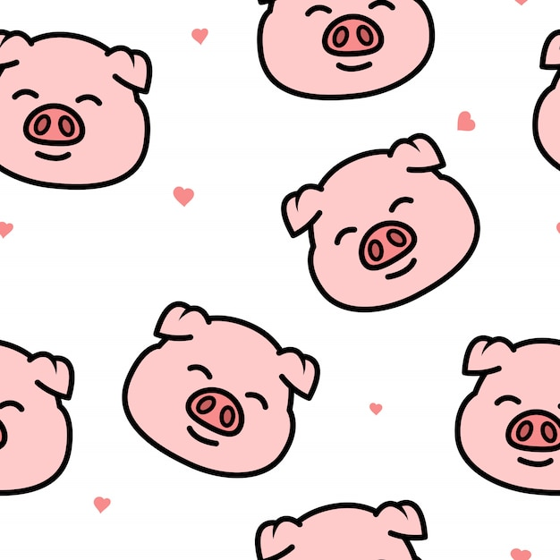 Cute pig smiling face cartoon seamless pattern Premium Vector