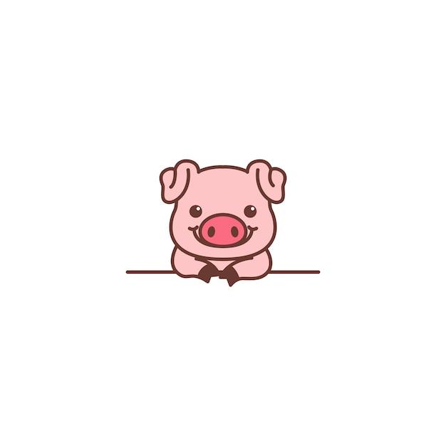 Cute pig smiling over wall cartoon Premium Vector