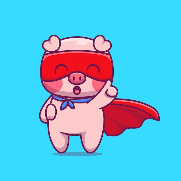 Illustrazione dell'icona del fumetto dell'eroe del maiale sveglio. concetto dell'icona di eroe animale isolato. stile cartone animato piatto Vettore gratuito