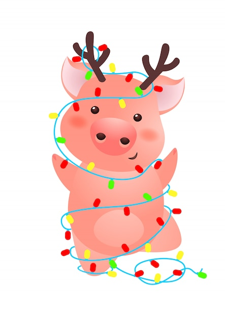 Cute Pig With Antlers Wrapped Into Christmas Lights Vector