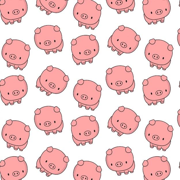 Cute pig with big cute head Premium Vector