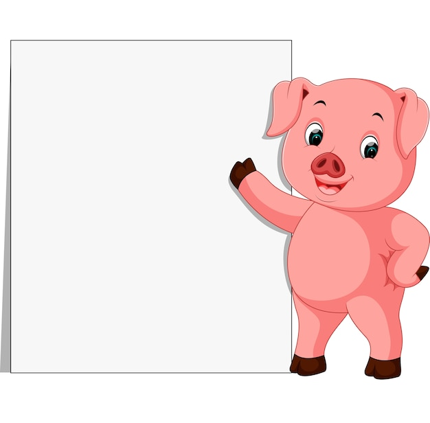 Cute pig with blank sign Premium Vector