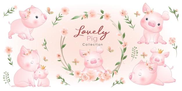 꽃 컬렉션 귀여운 돼지 프리미엄 벡터