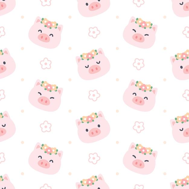 Милая свинья с цветочной короной Premium векторы