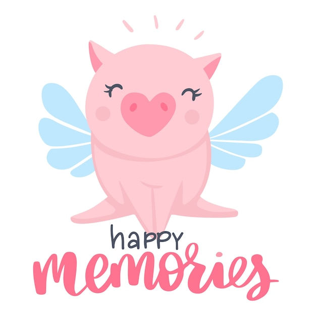Cute pig with wings illustration Premium Vector