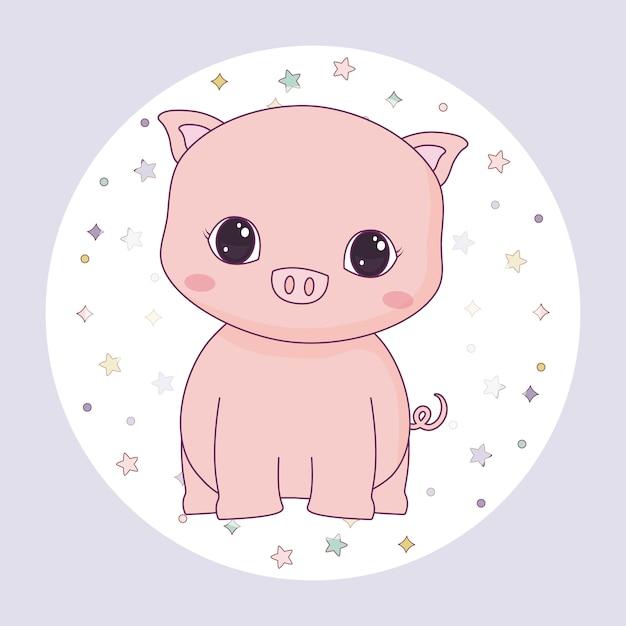 Cute piggy animal in frame circular Premium Vector
