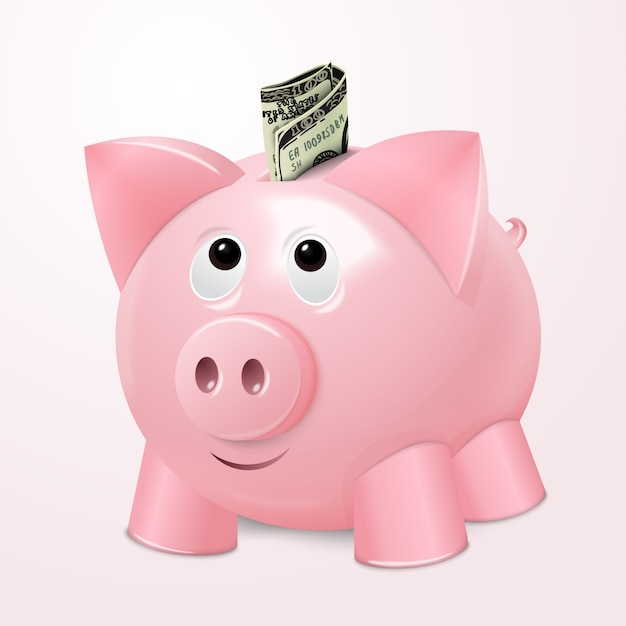Cute piggybank with bill Premium Vector