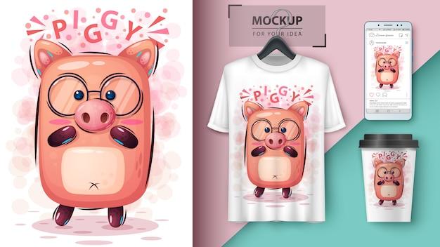 Cute pigposter and merchandising Premium Vector