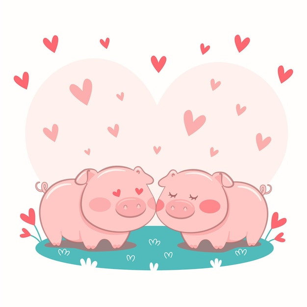 Cute pigs couple illustrated Free Vector