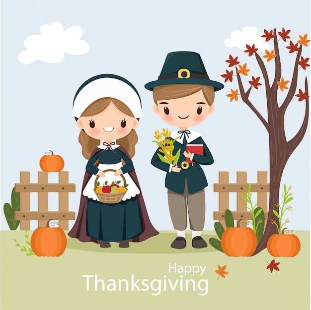 Cute pilgrim boy and girl with pumpkin for thanksgiving day Premium Vector