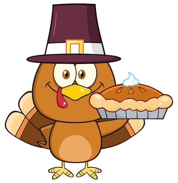 Cute pilgrim turkey bird cartoon character holding a pie. Premium Vector