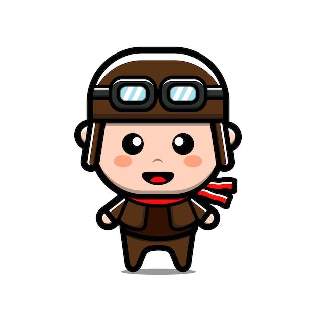 Милый пилот мультипликационный персонаж Premium векторы