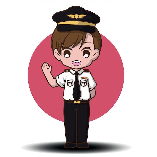 Cute pilot vector. cartoon characters Premium Vector