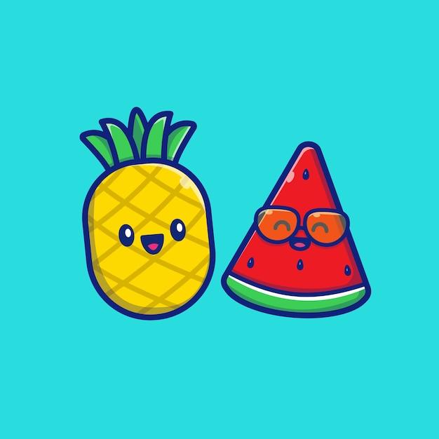 Симпатичный ананас с арбузом значок иллюстрации. концепция значок летние фрукты. Premium векторы