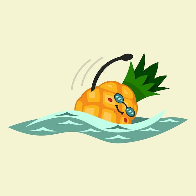 귀여운 파인애플 만화 캐릭터가 수영에 종사하고 있습니다. 건강하고 건강하게 먹기. 그림 배경에 고립입니다. 프리미엄 벡터