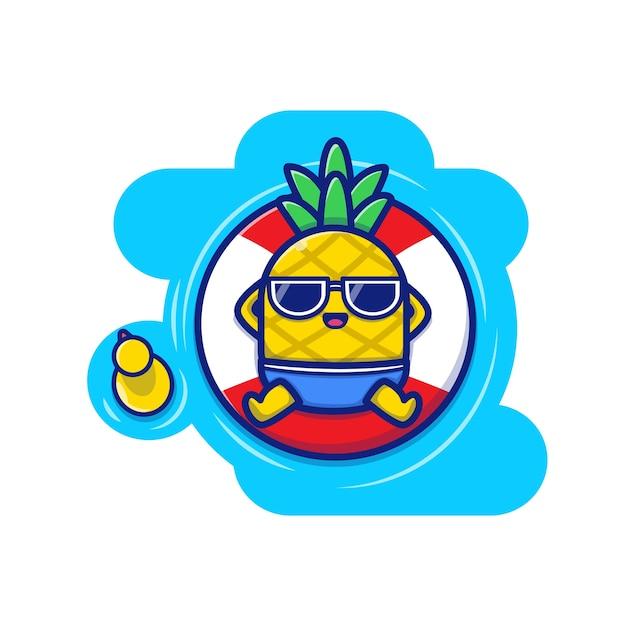 プールアイコンイラストに浮かぶかわいいパイナップル。夏の果物アイコンコンセプト。 Premiumベクター