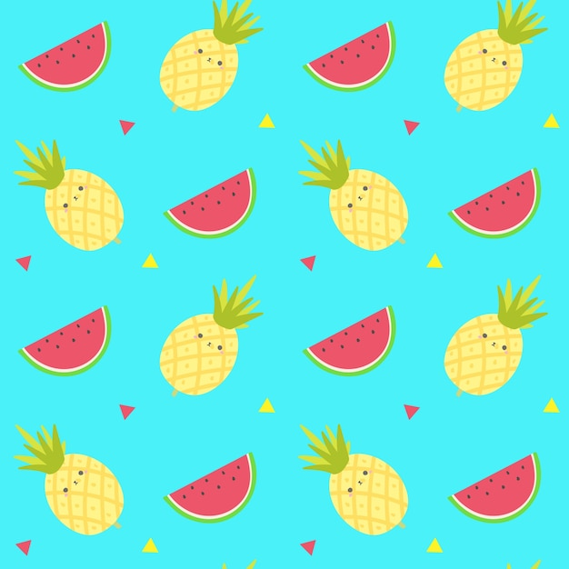 Cute Pineapple Fruits Seamless Patternfruits Background Vector Template Premium