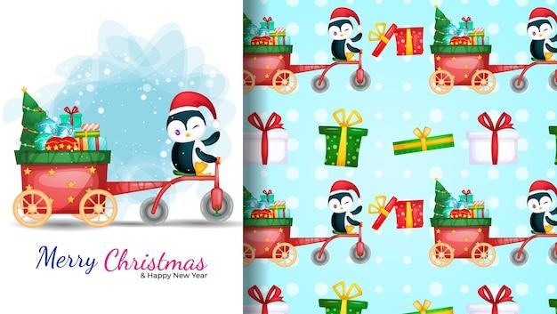 三輪車を運転するかわいいペンギン。クリスマスの日のイラストとシームレスなパターン。 Premiumベクター