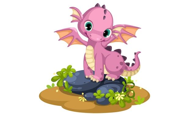 かわいいピンクの赤ちゃんドラゴン漫画 無料ベクター