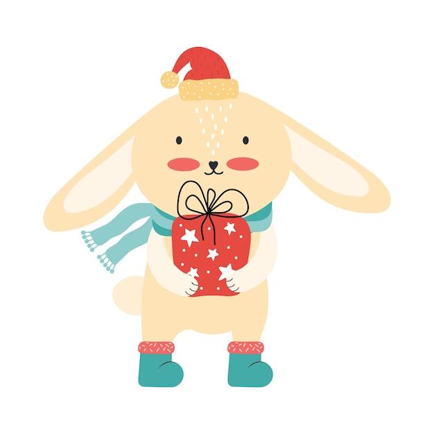 大きなギフトボックスとサンタの帽子のかわいいピンクの赤ちゃんウサギ。分離されたクリスマス面白い漫画動物 Premiumベクター