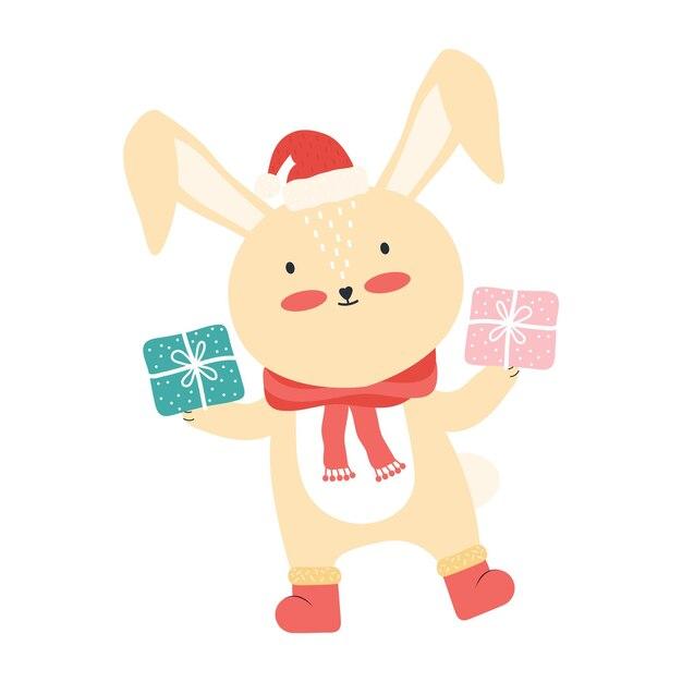 大きなギフトボックスとサンタの帽子のかわいいピンクの赤ちゃんウサギ。分離された面白い漫画の動物 Premiumベクター