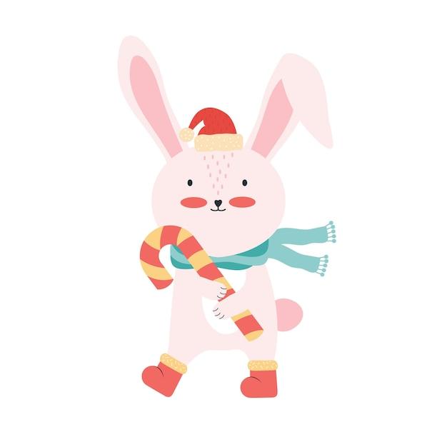 キャンディケインとサンタの帽子のかわいいピンクの赤ちゃんウサギ。分離された面白い漫画の動物 Premiumベクター