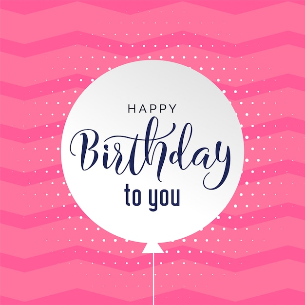 Cute pink background happy birthday background Free Vector