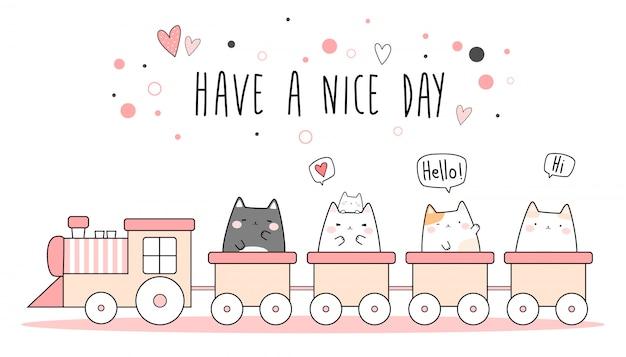 Cute Pink Cat Kitten Riding Train Cartoon Doodle Wallpaper Premium Vector