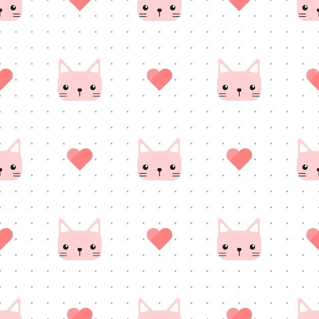 心とドットのシームレスパターンを持つかわいいピンク猫子猫 Premiumベクター