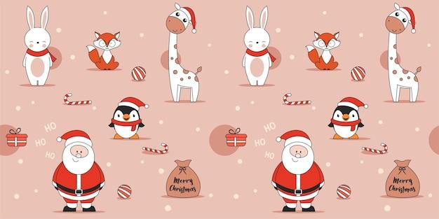 Симпатичные розовые рождественские бесшовные модели с пингвином, кроликом, лисой, жирафом и санта-клаусом Premium векторы
