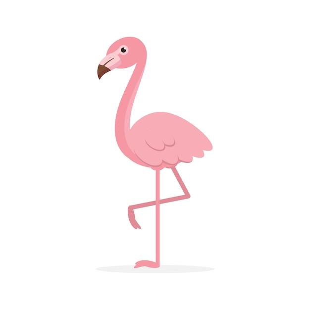 Cute pink flamingo illustration Premium Vector