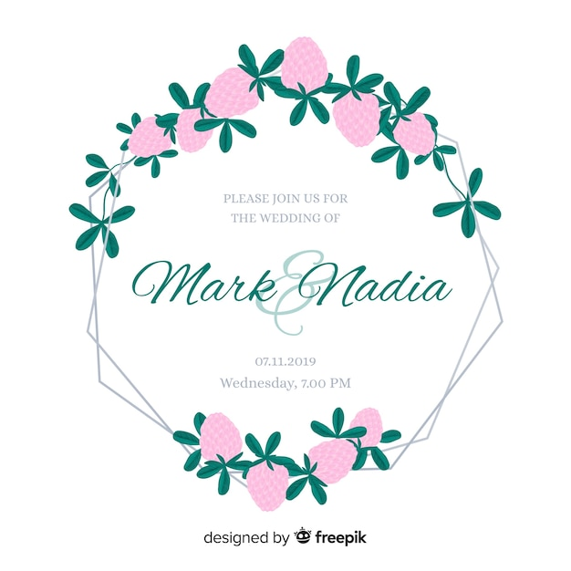 Cute pink flowers frame wedding invitation Free Vector