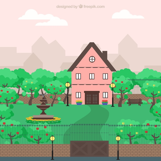 Cute Pink House In A Big Garden Vector Free Download - Big cartoon house