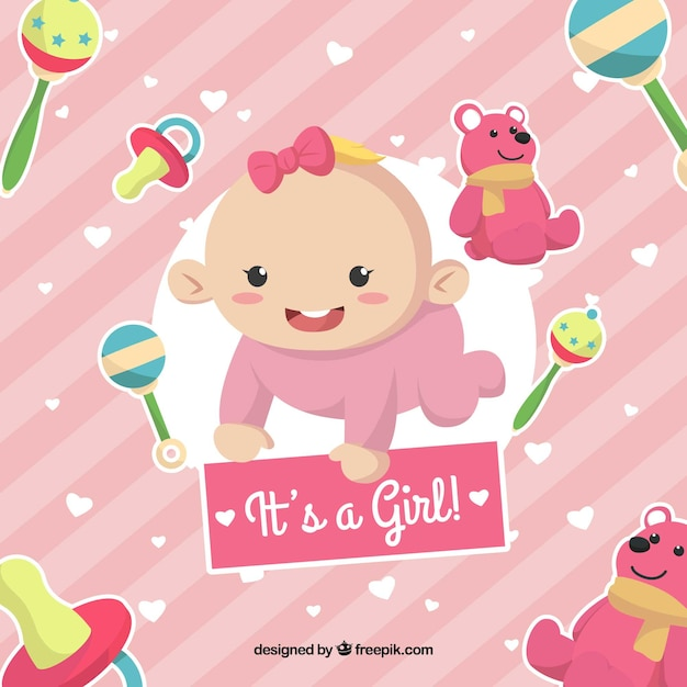 Cute pink its a girl background Free Vector