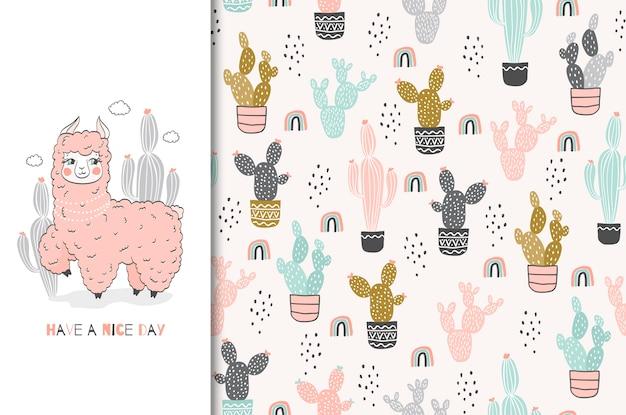 Cute pink lama character card and seamless pattern hand drawn illustration set Premium Vector