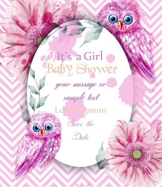 Cute pink owls card baby shower invitation watercolor vector cute pink owls card baby shower invitation watercolor premium vector stopboris Choice Image