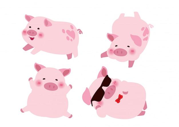 cute pink pig character design Premium Vector