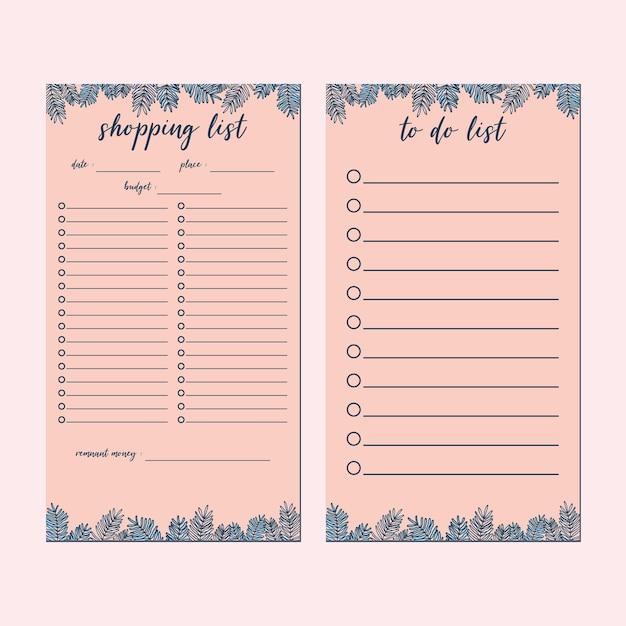 귀여운 핑크 식물 미니멀리스트 편지지 세트, 쇼핑 목록, 할 일 목록 템플릿 세트 프리미엄 벡터