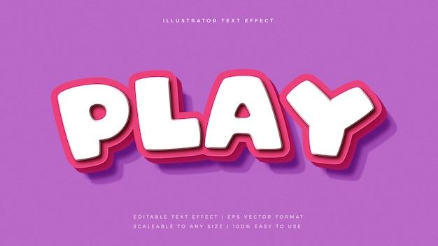 귀여운 핑크 장난기 넘치는 텍스트 스타일 글꼴 효과 프리미엄 벡터