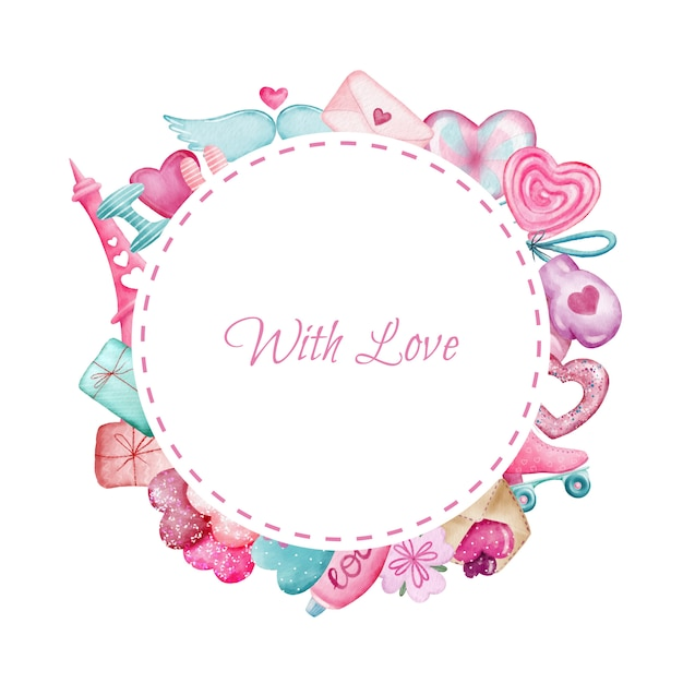 Cute pink round border with valentines day elements Premium Vector