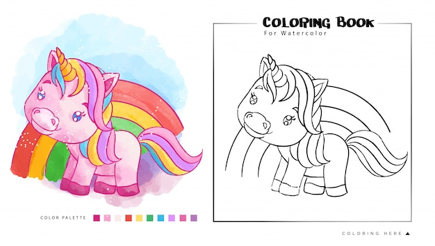 Cute pink unicorn on the rainbow, cartoon illustration for watercolor coloring book Premium Vector