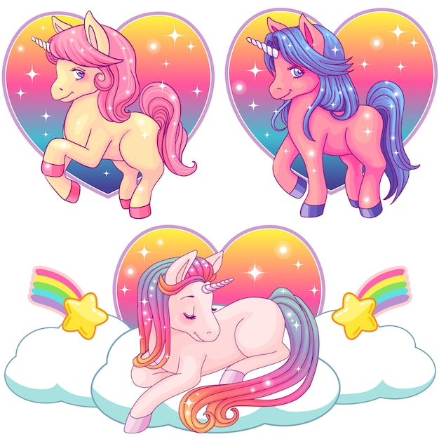 Cute pink watercolor unicorn collection on a rainbow background Premium Vector