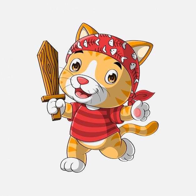 かわいい海賊猫漫画手描き Premiumベクター