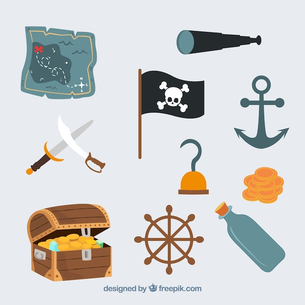 Cute pirate icons vector set Free Vector