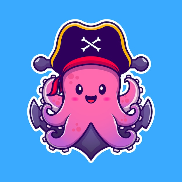 Cute pirate octopus with anchor cartoon  icon illustration. animal pirate icon concept  premium .  cartoon style Premium Vector