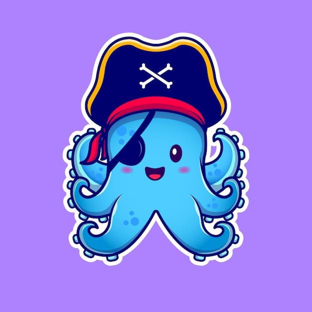 Cute pirate octopus with eyepatch cartoon  icon illustration. animal pirate icon concept  premium .  cartoon style Premium Vector