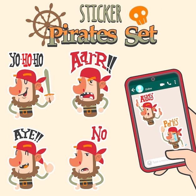 Cute pirates cartoon sticker set Premium Vector