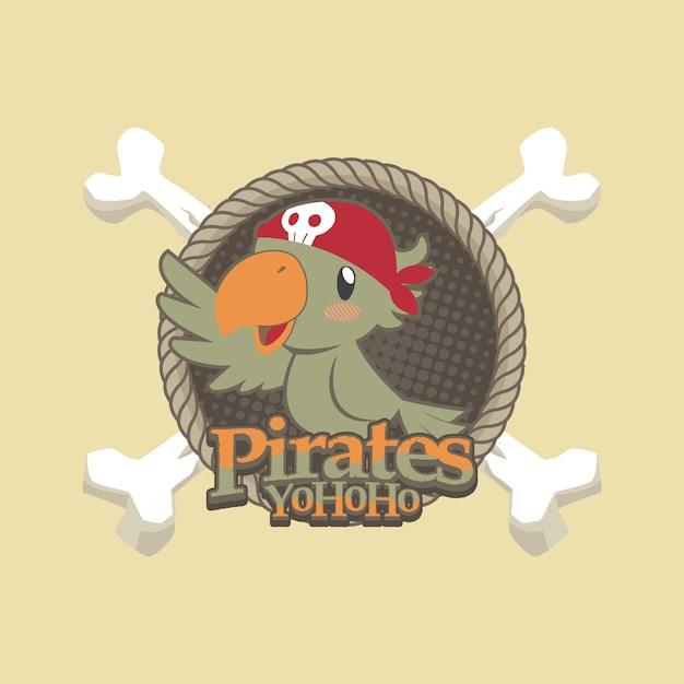 Cute pirates cartoon vector background Premium Vector